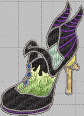 Maleficent Shoe Digital Embroidery Design File