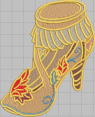 Pocahontas Shoe Digital Embroidery Design File