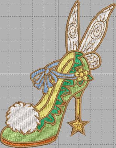 Tinkerbell Shoe Digital Embroidery Design File