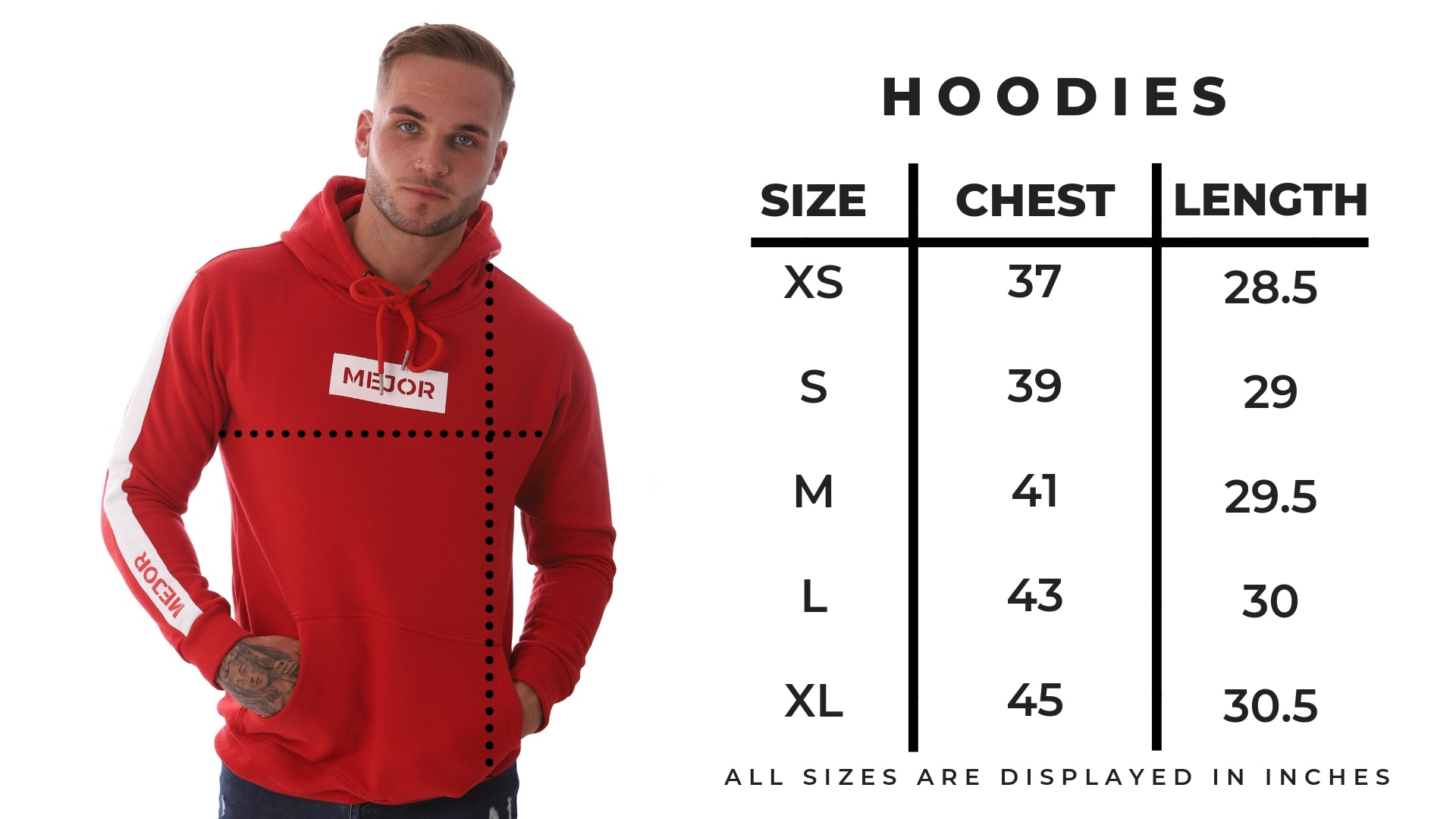 Mens Hoodie Size Guide