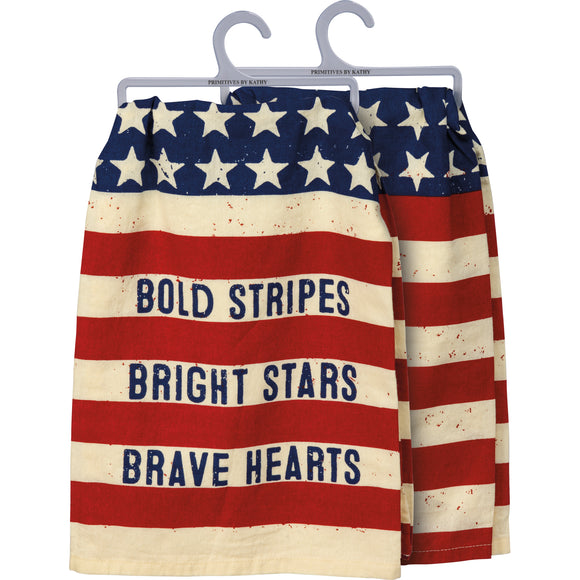 Bold Stripes Bright Stars American Dish Towel