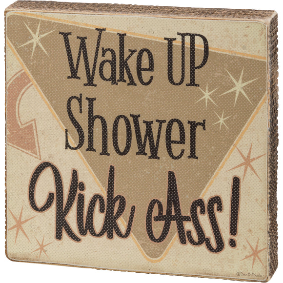 Wake Up Shower Block Sign