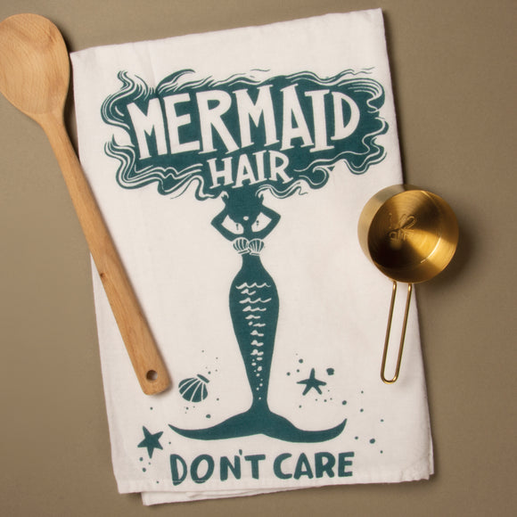 Mermaid Hair Don't Care Dish Towel