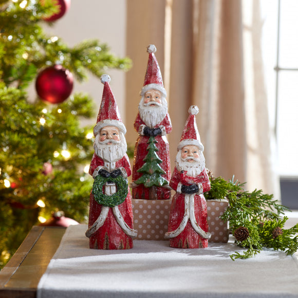 Santa Statues (set of 3)