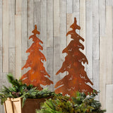 Alpine Holiday Rusty Pine Trees Stakes (set of 2)