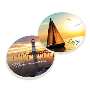 Lighthouse and Sailboat Car Coasters - set of 2 - SolagoHome