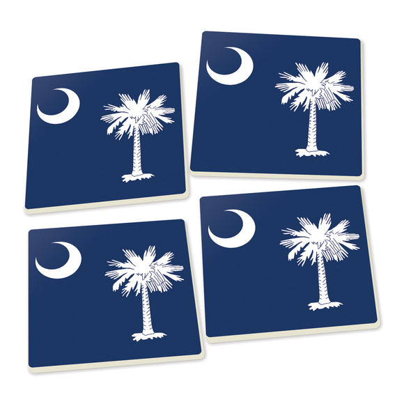 Palmetto Crescent Moon Blue Coasters - set of 4 - SolagoHome