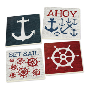 Anchor & Ship's Wheel Coasters - set of 4 - SolagoHome