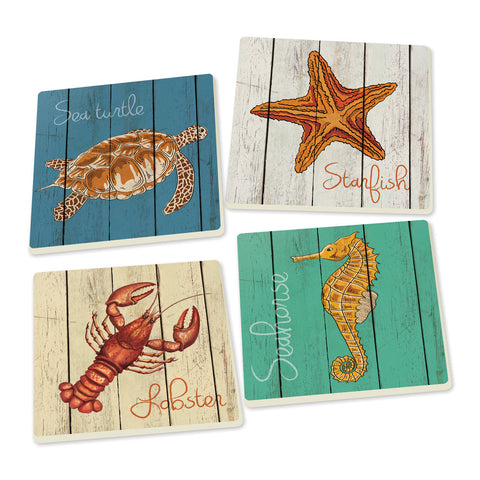 Sea Life Coasters - set of 4 - SolagoHome