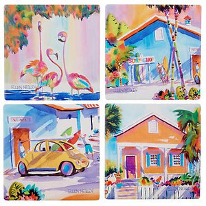 Ellen Negley Surf Coasters - set of 4 - SolagoHome