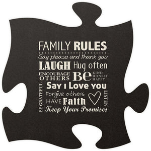 Family Rule Quote Puzzle Piece - Blemished/Seconds - SolagoHome