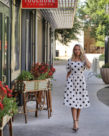 Polka Dot Tea Length Dress