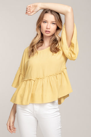 Yellow Dolman Top with Ruffles