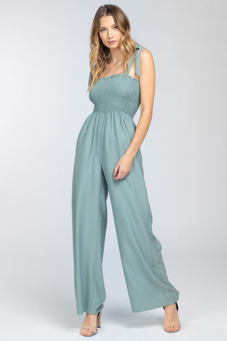 Jumpsuit with Smocked Waist in Moss