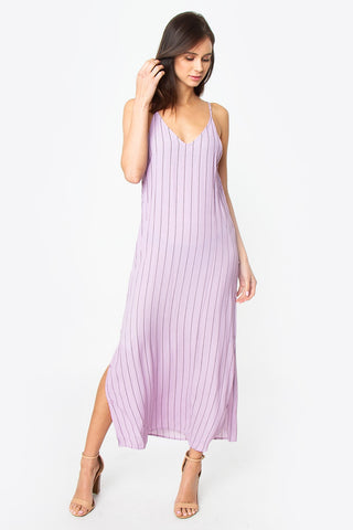 Lavender Pinstripe Maxi Dress