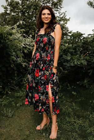 The Summer Date Night Floral Dress with Slits - alma boutique