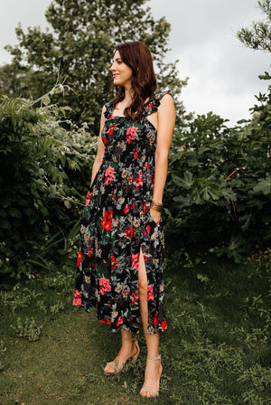 Date Night Floral Dress with Slits - alma boutique