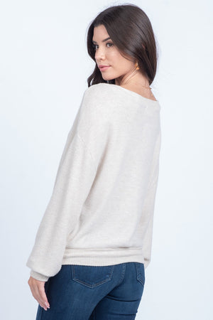 Kari Soft Knit Top in Oatmeal - alma boutique