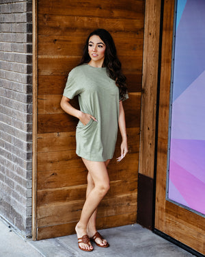 Maddie Olive Green T-Shirt Dress - alma boutique