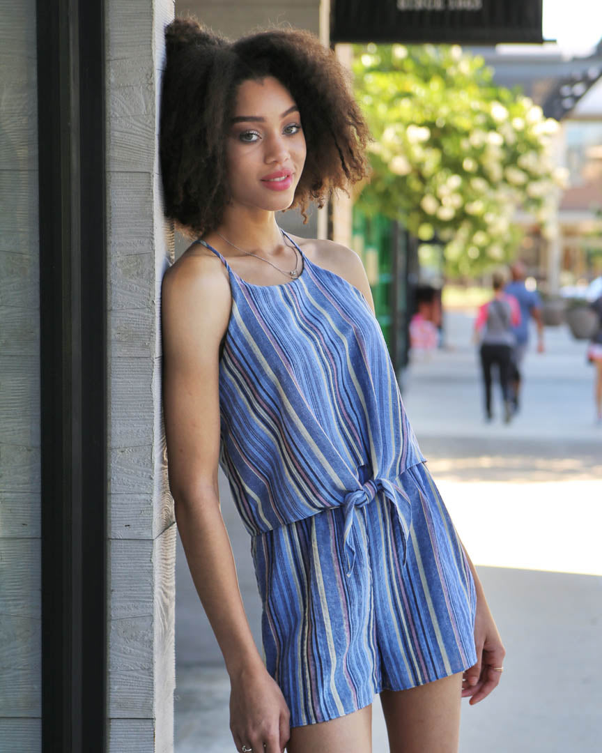 Livia Blue Striped Romper - alma boutique