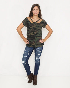 Olive Camo Top with Cutout - alma boutique