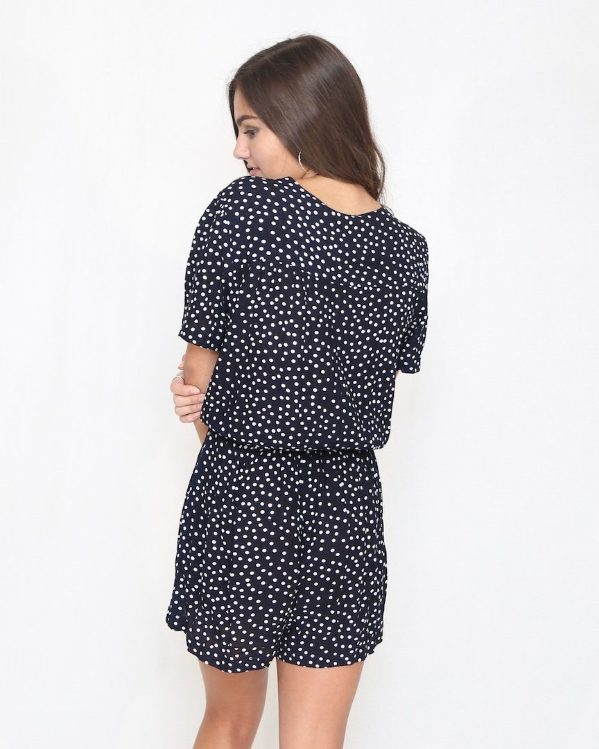 Navy Polka Dot Romper with Cutout - alma boutique