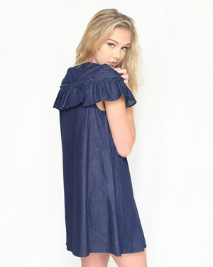 Evie Denim Ruffled Dress - alma boutique