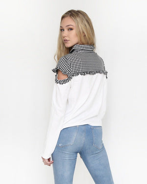 Zoe Gingham Sweater with Shoulder Cutout - alma boutique