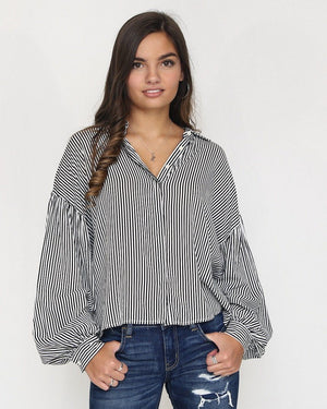 The Karen Striped Top with Puffy Sleeves - alma boutique