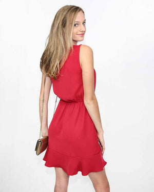 Scarlet Red Dress with Ruffled Hem - alma boutique