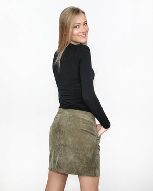 The Alexis Olive Corduroy Skirt with Front Buttons - alma boutique