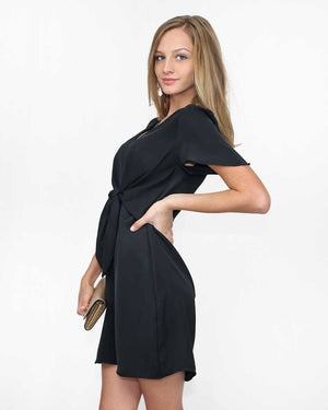 The Alex Black Faux Tie Dress - alma boutique