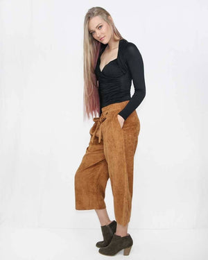 The Stevie Corduroy Wide Leg Pant with Elastic Waist - alma boutique