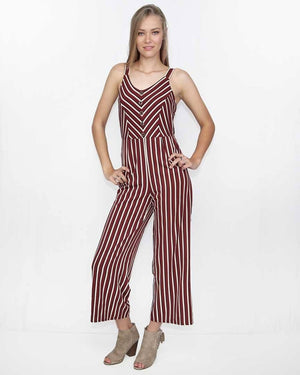 V-Neck Striped Jumpsuit - alma boutique