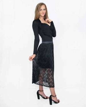 Lace Overlay Skirt - alma boutique