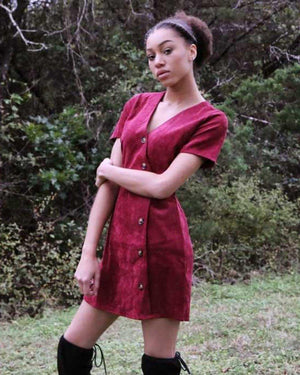 Cranberry corduroy dress - alma boutique