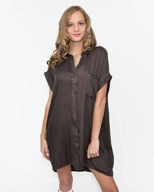Olive Button Down Shirt Dress - alma boutique