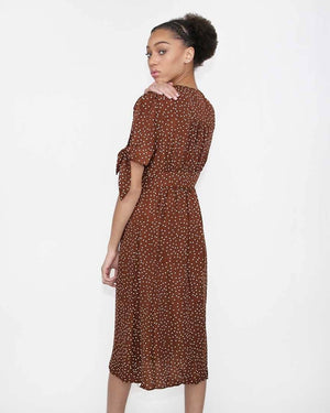 Brown polka dot dress - alma boutique