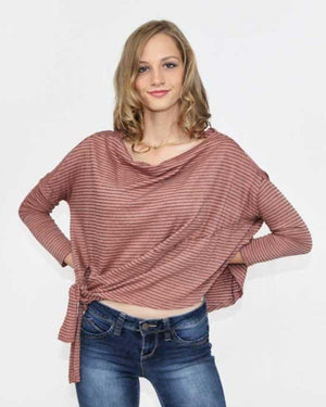 Striped Long Sleeve Cropped Top with Tie - alma boutique