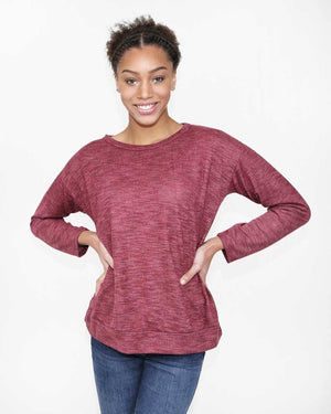 Burgundy Long Sleeve Knit Top - alma boutique
