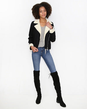 Black Denim and Sherpa Moto Jacket - alma boutique