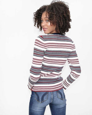 Red and White Striped Ribbed Knit Top - alma boutique