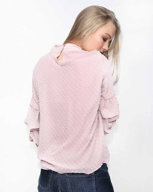 Mauve polka dot top - alma boutique
