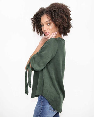 Hunter Green Fall Top with 3/4 sleeves with ties - Side view