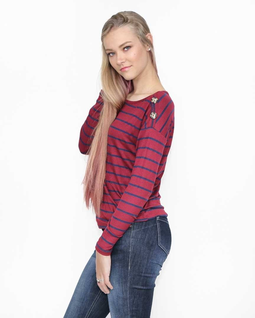 Striped Navy and Red Top with Buttons - alma boutique