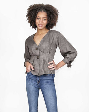 Mocha V-Neck Button Peplum Top - alma boutique