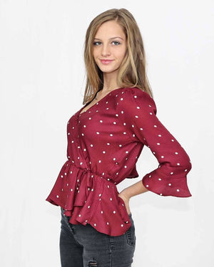Burgundy Polka Dot Top - alma boutique