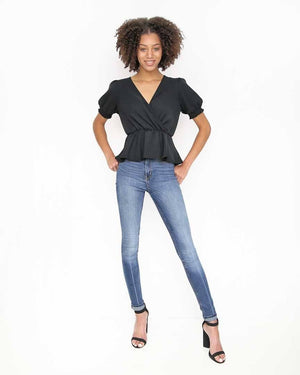 Black V-Neck Top with Smocked Short Sleeves