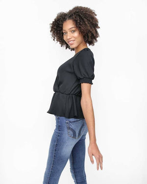 Black V-Neck Top with Smocked Short Sleeves - Side