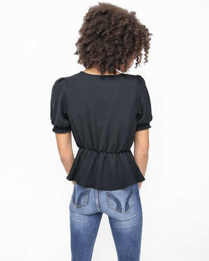 Black V-Neck Top with Smocked Short Sleeves - Back